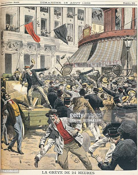 24 hour strike accompanied by public disorder at the labour exchange in Paris Illustration from the Petit Journal 16th August 1908