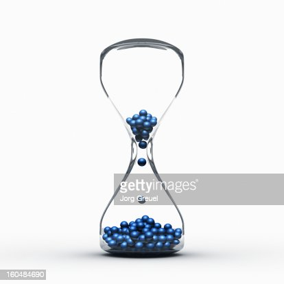 Hourglass filled with balls