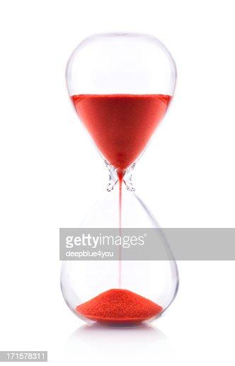Hourglass on white