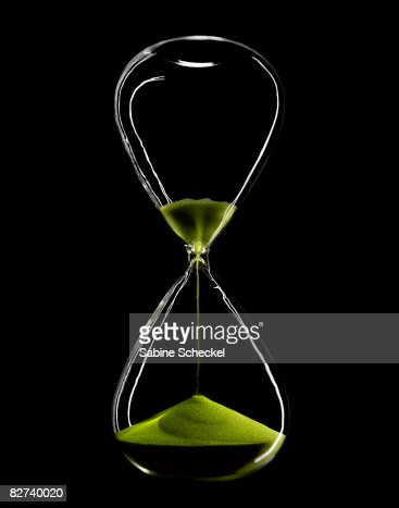 hourglass with green sand