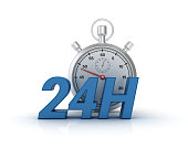 24 Hours Text with Stopwatch - White Background - 3D Rendering