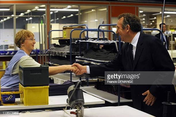 Hours With Francois Bayrou In Lorraine In Vagney France On November 06 2008 Francois Bayrou's visit to the 'Bleu Foret' company