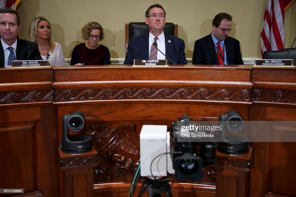 House Administration Committee Chairman Gregg Harper (R-MS) (C) prepares for a hearing in the Longworth House Office Building on Capitol Hill November 14, 2017 in Washington, DC. In the wake of recent high-profile accusations of sexual assult and harassment by powerful people in politics, arts, publishing, journalism and other areas, the committee recieved testimony about the need for manditory education and increased compliance to prevent sexual harassment in the Congressional workplace.