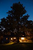 House and tree at night