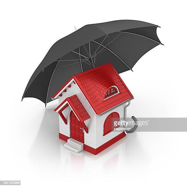 Haus und Sonnenschirm