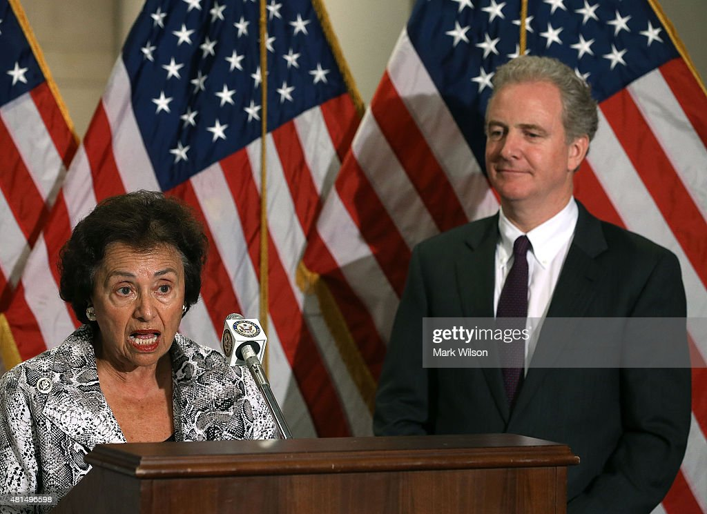 House Appropriations Committee ranking member Nita Lowey speaks while flanked by House Budget Committee ranking member Chris Van Hollen during a news...