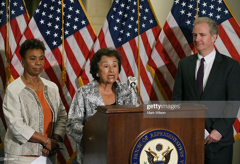 House Appropriations Committee ranking member Nita Lowey speaks while flanked by House Budget Committee ranking member Chris Van Hollen and Rep...