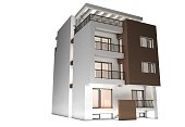 A house concept isolated on a white background. 3D render with lighting and raytraced textures. Modern building with basement, ground and three upper floors. Main color of the building is white and ha