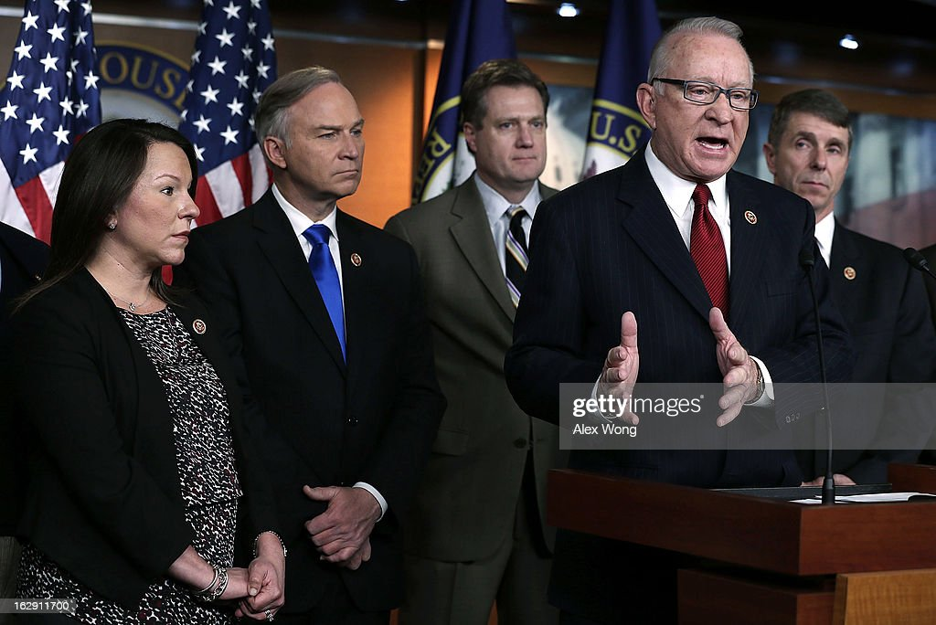 U.S. House Armed Services Committee Chairman Rep. Howard P. 'Buck' McKeon (R-CA) (4th L) speaks as (L-R) Rep. Martha Roby (R-AL), Rep. Randy Forbes (R-VA), Rep. Michael Turner (R-OH), Rep. Rob Whittman (R-VA) listen during a news conference March 1, 2013 on Capitol Hill in Washington, DC. Members of the House Armed Services Committee held a news conference on 'the day that sequestration will take effect, to call for an end to repeated cuts to our national security and focus on the real drivers of our debt and deficits.'
