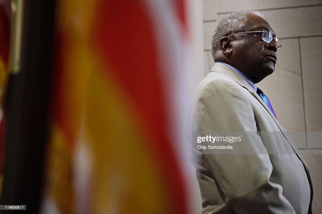 House Assistant Whip James Clyburn (D-SC) talks to reporters after a House Democratic caucus meeting in the U.S. Capitol Visitors Center July 27, 2011 in Washington, DC. Democrats and Republicans continue to meet separately to discuss strategy as the deadline for the federal debt ceiling looms and negotiations between Congress and the White House falter.