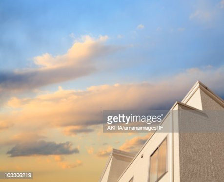 House at sunset in Wakabadai, Tokyo, Japan. : Stock Photo