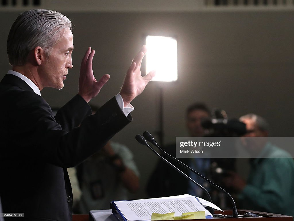 House Benghazi Committee Chairman, <a gi-track='captionPersonalityLinkClicked' href=/galleries/search?phrase=Trey+Gowdy&family=editorial&specificpeople=7778386 ng-click='$event.stopPropagation()'>Trey Gowdy</a> (R-SC), participates in a news conference with fellow Committee Republicans on Capitol Hill June 28, 2016 in Washington, DC. Gowdy discussed the release of the Committee's final Benghazi report.