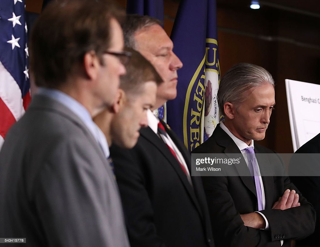 House Benghazi Committee Chairman, <a gi-track='captionPersonalityLinkClicked' href=/galleries/search?phrase=Trey+Gowdy&family=editorial&specificpeople=7778386 ng-click='$event.stopPropagation()'>Trey Gowdy</a> (R-SC) (R) participates in a news conference with fellow Committee Republicans after the release of the Committees Benghazi report on Capitol Hill June 28, 2016 in Washington, DC. U.S. Ambassador Chris Stevens and three others were killed during an attack on a U.S. outpost and CIA annex in Libya on September 11, 2012.