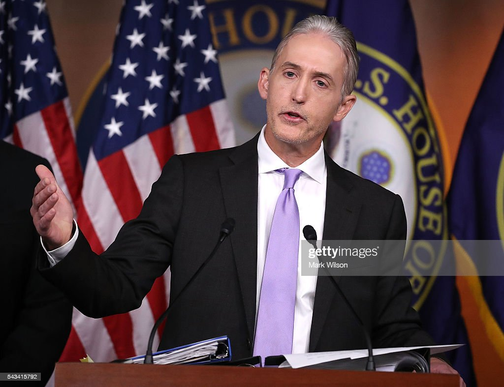 House Benghazi Committee Chairman, <a gi-track='captionPersonalityLinkClicked' href=/galleries/search?phrase=Trey+Gowdy&family=editorial&specificpeople=7778386 ng-click='$event.stopPropagation()'>Trey Gowdy</a> (R-SC), participates in a news conference with fellow Committee Republicans after the release of the Committees Benghazi report on Capitol Hill June 28, 2016 in Washington, DC. U.S. Ambassador Chris Stevens and three others were killed during an attack on a U.S. outpost and CIA annex in Libya on September 11, 2012.
