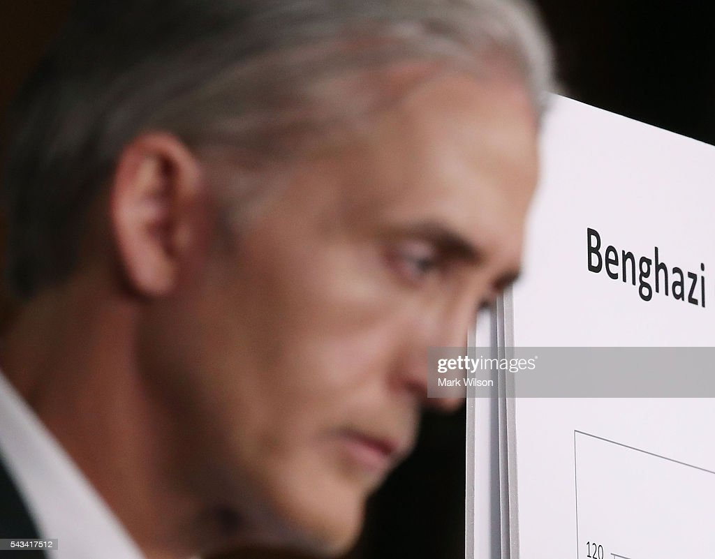 House Benghazi Committee Chairman, <a gi-track='captionPersonalityLinkClicked' href=/galleries/search?phrase=Trey+Gowdy&family=editorial&specificpeople=7778386 ng-click='$event.stopPropagation()'>Trey Gowdy</a> (R-SC), participates in a news conference with fellow Committee Republicans after the release of the Committee's Benghazi report on Capitol Hill June 28, 2016 in Washington, DC. U.S. Ambassador Chris Stevens and three others were killed during an attack on a U.S. outpost and CIA annex in Libya on September 11, 2012.