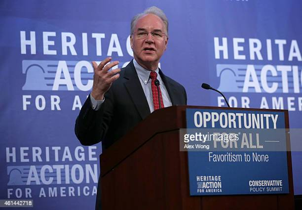S House Budget Committee Chairman Rep Tom Price addresses the second annual Conservative Policy Summit at the Heritage Foundation January 12 2015 in...
