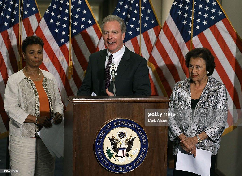 House Budget Committee ranking member Chris Van Hollen speaks while flanked by House Appropriations Committee ranking member Nita Lowey speaks and...