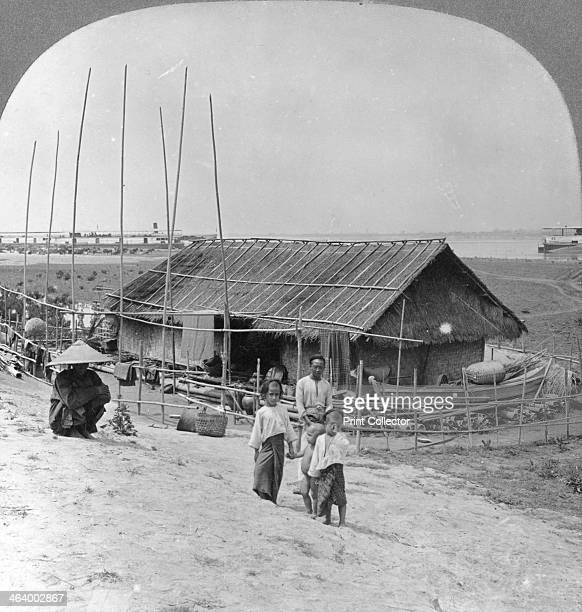 House built of bamboo on rafts Bhamo Burma 1908 Bhamo is located on the banks of the River Irrawaddy Stereoscopic card Detail