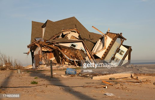 A house by the sea damaged after a hurricane