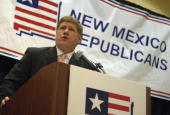 House candidate Darren White speaks at the state republican convention at the Marriott hotel in Albuquerque NM