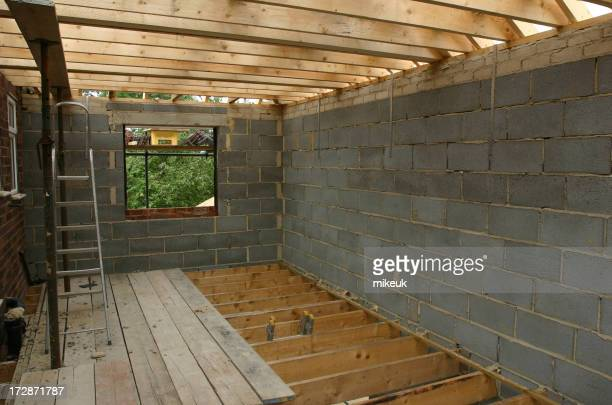 House construction wooden flooring and roof