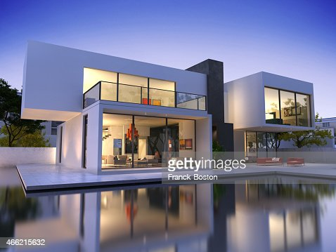 House cube A one pool : Stock Photo