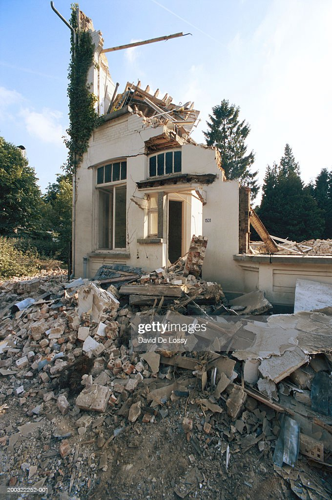 house damaged by earthquake low angle view stock photo getty images. Black Bedroom Furniture Sets. Home Design Ideas
