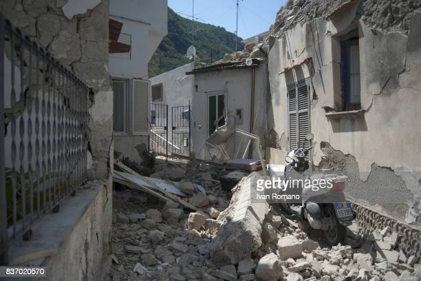 A house damaged in the earthquake is seen in one of the more heavily damaged areas on August 22 2017 in Casamicciola Terme Italy A magnitude40...