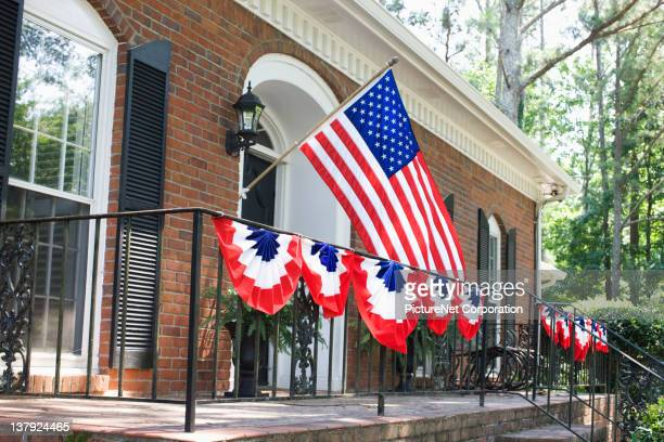 House decorated for Fourth of July