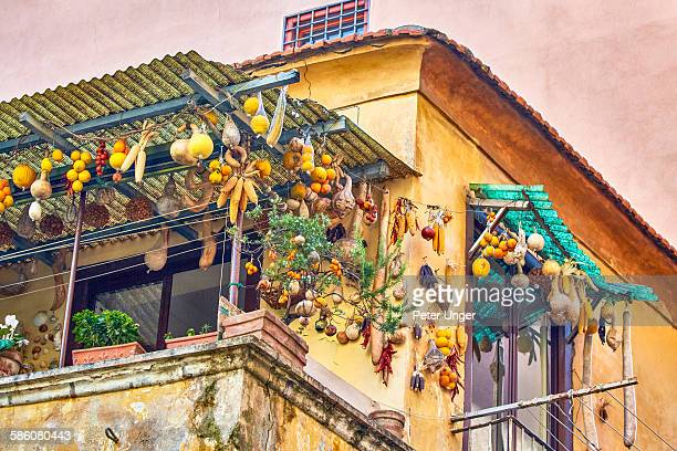 House decorated with pumkins, Sorrento, Italy