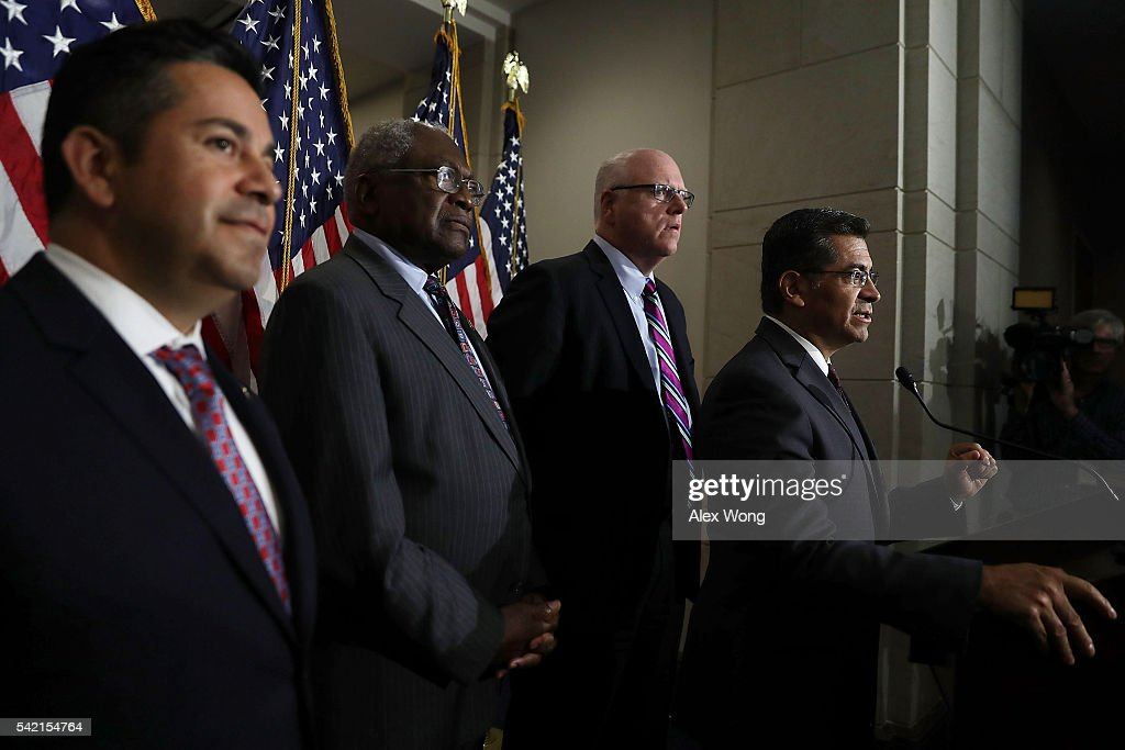 House Democratic Caucus Chair Rep. Xavier Becerra (D-CA) speaks to members of the media as House Democratic Caucus Vice Chair Rep. Joseph Crowley (D-NY), Assistant Minority Leader Rep. James Clyburn (D-SC) and Chairman of Democratic Congressional Campaign Committee Rep. Ben Ray Lujan (D-NM) listen after a House Democratic Caucus meeting June 22, 2016 on Capitol Hill in Washington, DC. Democratic presidential candidate Hillary Clinton joined the House Democratic Caucus meeting as she continued to campaign for the election.