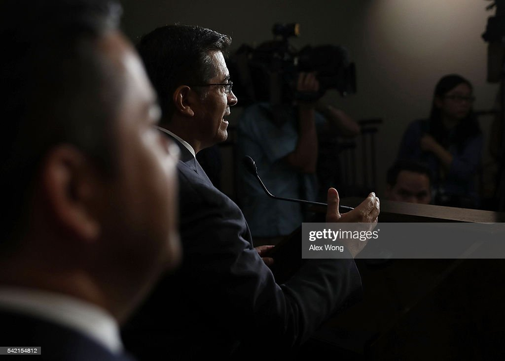 House Democratic Caucus Chair Rep. Xavier Becerra (D-CA) (R) speaks to members of the media after a House Democratic Caucus meeting June 22, 2016 on Capitol Hill in Washington, DC. Democratic presidential candidate Hillary Clinton joined the House Democratic Caucus meeting as she continued to campaign for the election.