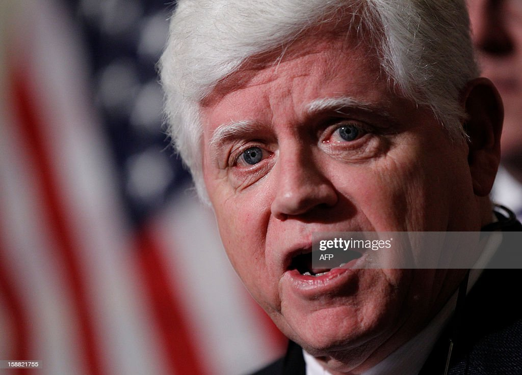 House Democratic Caucus Chairman Rep. John Larson (D-CT) addresses the press in the US Capitol on December 30, 2012 in Washington, DC. Last minute talks stalled Sunday between top US political leaders aimed at averting a fiscal calamity due to hit within hours, as Democrats and Republicans blamed each other for a lack of progress. Top Democrats and Republicans groped for a compromise before a punishing package of government spending cuts and tax hikes come into force on January 1 which could roil global markets and send the US economy back into recession. AFP PHOTO/Molly RILEY