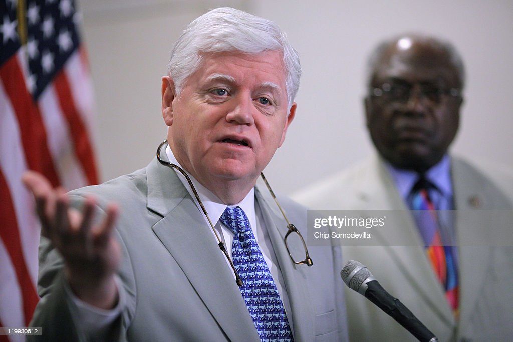 House Democratic Caucus Chairman Rep. John Larson (D-CT) and House Assistant Whip James Clyburn (D-SC) talk to reporters after a House Democratic caucus meeting in the U.S. Capitol Visitors Center July 27, 2011 in Washington, DC. Democrats and Republicans continue to meet separately to discuss strategy as the deadline for the federal debt ceiling looms and negotiations between Congress and the White House falter.