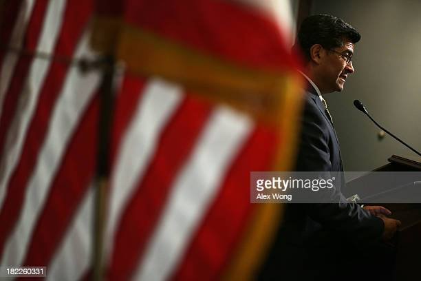 House Democratic Caucus Chairman Rep Xavier Becerra speaks during a news briefing after a caucus meeting September 28 2013 on Capitol Hill in...