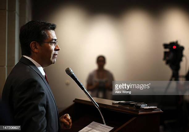 House Democratic Caucus Vice Chair Rep Xavier Becerra speaks during a news briefing after a closed caucus meeting June 27 2012 on Capitol Hill in...