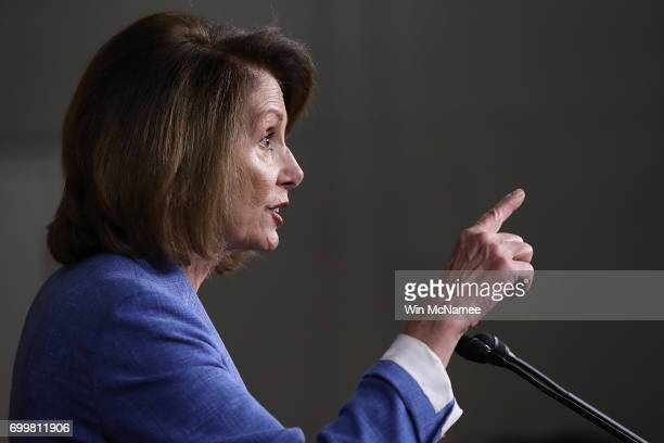 House Democratic leader Nancy Pelosi answers questions during her weekly press conference at the US Capitol June 22 2017 in Washington DC Pelosi...
