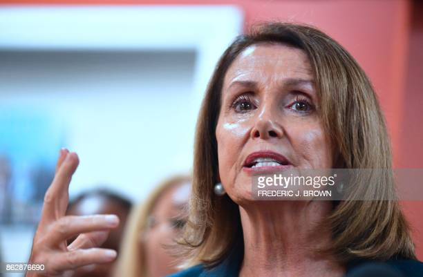 House Democratic Leader Nancy Pelosi gestures while speaking with young immigrants protected by DACA and community leaders during a meeting in Los...