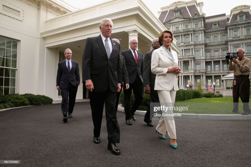 House Democratic leaders (L-R) House Budget Committee ranking member Rep. Chris Van Hollen (D-MD), Minority Whip Steny Hoyer (D-MD), Rep. Joseph Crowley (D-NY), Rep. James Clyburn (D-SC) and Minority Leader Nancy Pelosi (D-CA) walk out of the West Wing after meeting with U.S. President Barack Obama and Vice President Joe Biden in the Oval Office at the White House October 15, 2013 in Washington, DC. Negotiations between Congressional Republicans and Democrats and the White House continue as the federal debt limit looms and the partial shutdown of the federal government moves into its third week.