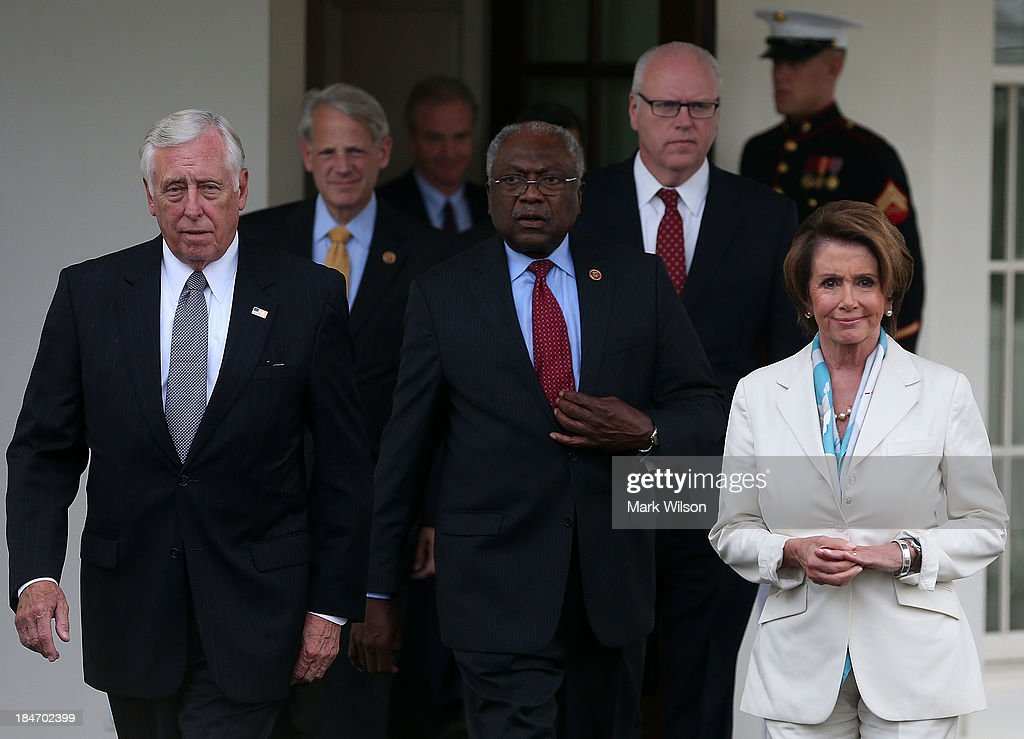 House Democratic leaders, including Minority Leader <a gi-track='captionPersonalityLinkClicked' href=/galleries/search?phrase=Nancy+Pelosi&family=editorial&specificpeople=169883 ng-click='$event.stopPropagation()'>Nancy Pelosi</a> (D-CA) (R), Minority Whip <a gi-track='captionPersonalityLinkClicked' href=/galleries/search?phrase=Steny+Hoyer&family=editorial&specificpeople=588093 ng-click='$event.stopPropagation()'>Steny Hoyer</a> (D-MD) (L), Rep. <a gi-track='captionPersonalityLinkClicked' href=/galleries/search?phrase=James+Clyburn&family=editorial&specificpeople=668762 ng-click='$event.stopPropagation()'>James Clyburn</a> (D-SC) (C), Rep. Steve Israel (D-NY) (2L) and Rep. Joseph Crowley (D-NY), walk out of the West Wing of the White House after meeting with President Barack Obama October 15, 2013 in Washington, DC. Negotiations between Congressional Republicans and Democrats and the White House continue as the federal debt limit looms and the partial shutdown of the federal government moves into its third week.