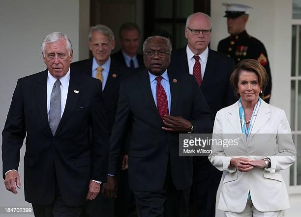 House Democratic leaders including Minority Leader Nancy Pelosi Minority Whip Steny Hoyer Rep James Clyburn Rep Steve Israel and Rep Joseph Crowley...
