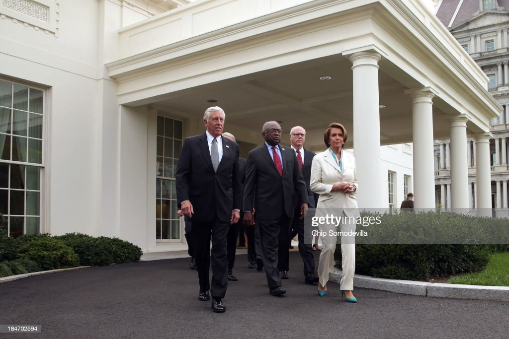 House Democratic leaders (L-R) Minority Whip Steny Hoyer (D-MD), Rep. James Clyburn (D-SC), Rep. Joseph Crowley (D-NY) and Minority Leader Nancy Pelosi (D-CA) and others walk out of the West Wing after meeting with U.S. President Barack Obama and Vice President Joe Biden in the Oval Office at the White House October 15, 2013 in Washington, DC. Negotiations between Congressional Republicans and Democrats and the White House continue as the federal debt limit looms and the partial shutdown of the federal government moves into its third week.