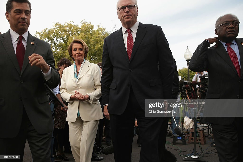 House Democratic leaders (L-R) Rep. Xavier Becerra (D-CA), Minority Leader Nancy Pelosi (D-CA), Rep. Joseph Crowley (D-NY) and Rep. James Clyburn (D-SC) finish speaking to repoters after meeting with U.S. President Barack Obama and Vice President Joe Biden in the Oval Office at the White House October 15, 2013 in Washington, DC. Negotiations between Congressional Republicans and Democrats and the White House continue as the federal debt limit looms and the partial shutdown of the federal government moves into its third week.