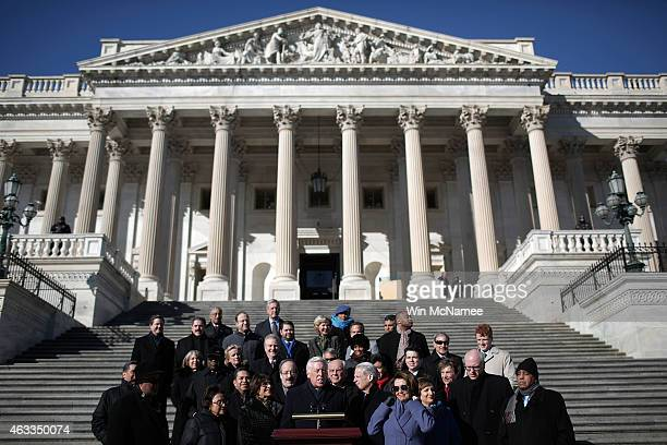 House Democratic Whip Steny Hoyer joined by other members of the House Democratic caucus speaks during a news conference on the steps of the US...