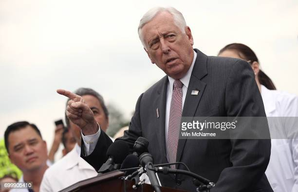 House Democratic Whip Steny Hoyer joins health care providers at a news conference outside the US Capitol June 22 2017 in Washington DC Hoyer and...