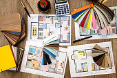house design, color samples for the floor and furniture