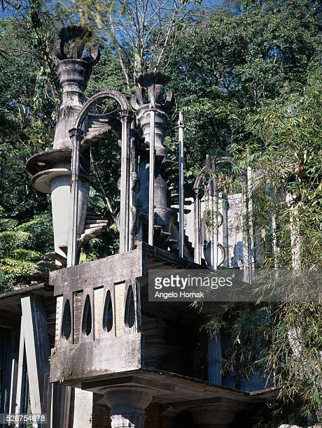 A house destined to be a cinema in Las Pozas a surrealist sculpture garden built in the jungle of Xilitla Mexico by Edward James in the 1960s and...