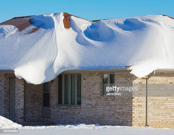 House Engulfed With Heavy Blizzard Snows