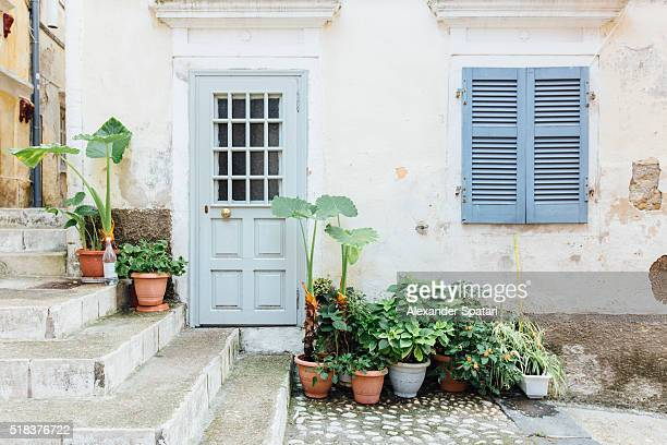 House facade in Corfu town on Corfu island, Greece
