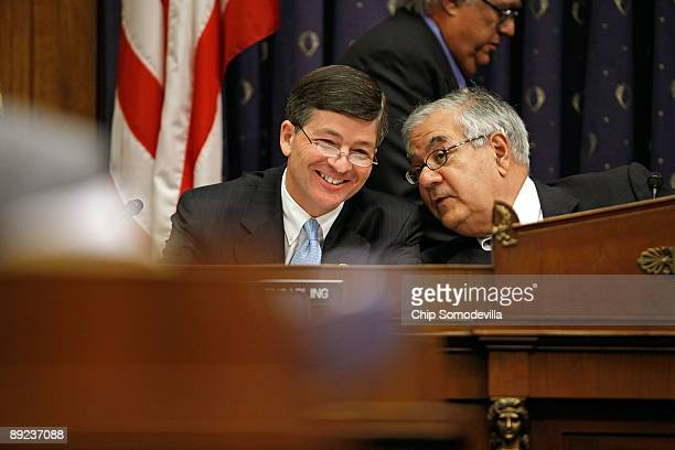 House Financial Services Committee Chairman Barney Frank talk with ranking member Rep Jeb Hensarling while hearing testimony from Treasury Secretary...